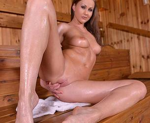[HotLegsAndFeet.com / DDFProd.com] Tina Kay - Shiny Stunner - Brunette Having A Sexy Time In The Sauna (May 29, 2016) [Bikini, Solo, Feet, Sauna, Mastrubation, Shaved Pussy, 540p]