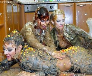 [AllWam.net / Tainster.com] Photo Shoots and Bakeries, The Perfect Mix/Food, Color, Mud, Oil ( fcmo2011-12-22) [2011 g., Blouses, Catfights, Messy, Softcore, Wet and Messy, 1080p]