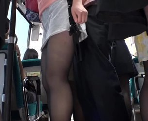 SW-440 - Dressed in a black pantyhose OL molested in a crowded bus 7.1080p.mp4